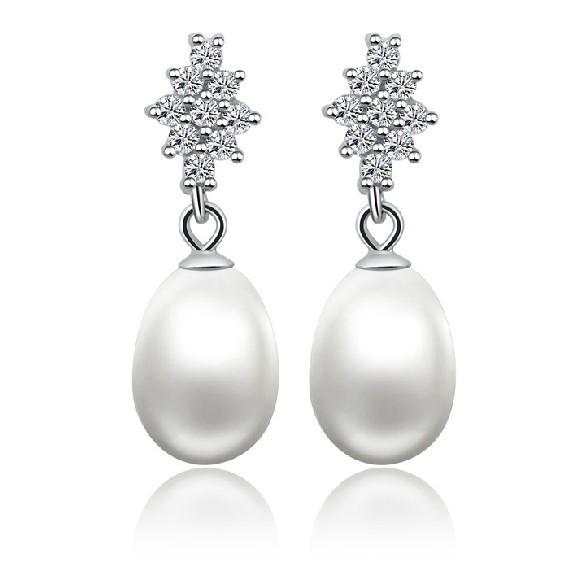 AAA Big Genuine Pearl Freshwater Natural Eardrop Earrings For Women Engagement Sterling Silver Jewelry Pearl Earrings Jewellery(China (Mainland))