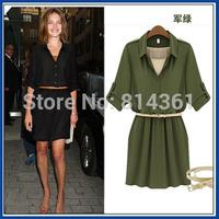 2014 summer fashion high quality  belt slim waist long-sleeve girl casual dress send strap free shipping