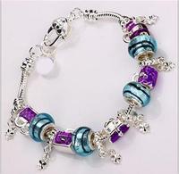PBB55 / Aliexpress hot Purple romantic 925 Silver Murano 2014 bracelets Silver plated chamilia Bracelets & Bangles for women