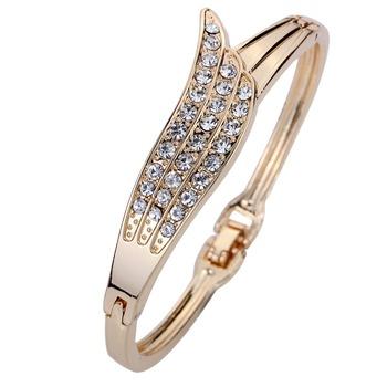 Elegant Розовый Золото Angle Wing Carve Crystal Chain Link Bangle Bracelet Женщины ...