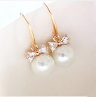 2014 Seconds Kill Trendy Zinc Alloy Water Drop B324 Fashion Women Bowknot Pearl Offer Products Drop Earrings