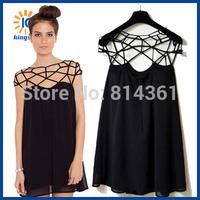 2014 Fashion Grid Interwoven Hollow Out Design Sweet Sexy Little Black Cool Casual Summer Women Chiffon Dress Free Shipping