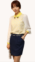 2014 Ladies Spring Slim Peter Pan Diamante Collar Polka Dot Print long-sleeve Chiffon Long-sleeve Blouses Shirt For Women