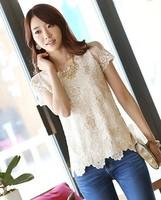 C4 spring 2014 chiffon lace beading short-sleeve shirt print gauze shirt