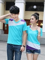 P spring 2014 lovers patchwork color block men's clothing short-sleeve T-shirt women's faux two piece