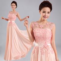 New 2014 Bridal Evening Dresses Beaded Floral Silk Chiffon Long Bridesmaid Dress Slim Fit Party Dresses