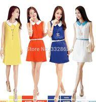 2014 summer new Korean women doll collar big yards was thin chiffon dress summer sleeveless