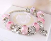 PBB115 / 2014 arrival pink beads charm heart bracelet, ,925 silver plated bracelets for woman, chamilia women's bracelet