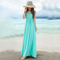 Bohemian Maxi Long Dress Chiffon Beach New sundresses women spring summer wear 2014 casual solid color sleeveless  A748