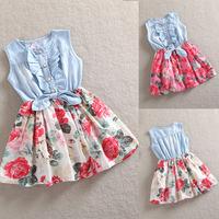 Kids Girls Flower Print Jean Dress Kids Sweet Dress Clothes Free DropShipping