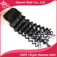"8""-18"" Lace Closure Brazilian Virgin Hair Deep Weave Style Natural Off Black ( 4""x4"") DHL Free Shipping Queen Hair Products"