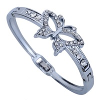 Elegant Silver Plated Hollow Butterfly Inlay Crystal Chain Link Bangle Bracelet