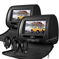 "Promotion, 2x7"" Digital Screen Car DVD Headrest Player with Game,DVD/USB/SD,IR/FM+2 IR headphone + 1 Joystick  Car Monitor"