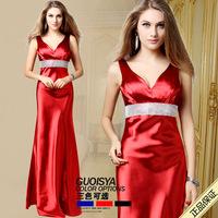 New 2014 Elegant Deep V-Neck Evening Dress Slim Long Prom Dresses cocktail Party Dress
