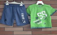 2014 Summer baby boy clothing set cotton t-shirt and sports pants sets infantis Size 1-3X 2224B4 Free Shipping