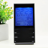 LED big screen electronic temperature and humidity meter household thermometer hygrometer alarm clock w/night light and weather