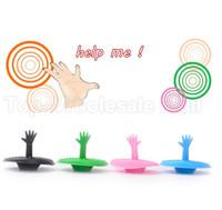Multi colors Creative washroom products lovely hand shape sink plug water plug rubber sink bathtub stopper 5pcs/lot