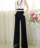 2014 New arrival Spring summer thin OL temperament black high waist wide leg pants palazzo women career trousers plus size