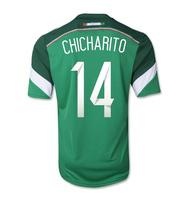 A+++ 14# Chicharito Hernandez Mexican Player Version 13 14 National Top Thailand MEX MEXICO Futbol Soccer Jersey Rubber Logo