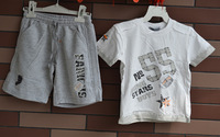 New 2014 baby & kids clothes baby boy white cotton t-shirt and sports pants sets infantis Size 1-3X 2195B2 Free Shipping