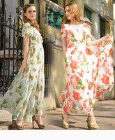 Summer European and American Style Bohemian Petal Sleeve Embroidery Print Chiffon Long Dress Woman V-Neck Collar Holiday Dress