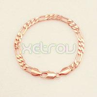 Free Shipping New Arrival Men's Women's 6mm 21.1cm 18K Rose Gold Filled Bracelet Classic Figaro Chain RB73