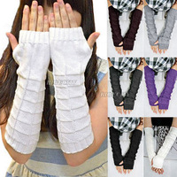Women Elbow Arm Long Fingerless Knit Winter Warm Gloves Mitten Hand Warmer 6 Color (fx216)
