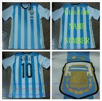 A+++ Top Argentina New 2014 Home Blue Higuain Soccer Brand Shirt Football Jersey 100% Thailand Cusom Name Messi Kun Aguero