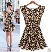 Free Shipping New Sexy Casual Women Dress Leopard Print Sleeveless Ruffles Dresses Girl Sundress  XS-XXL