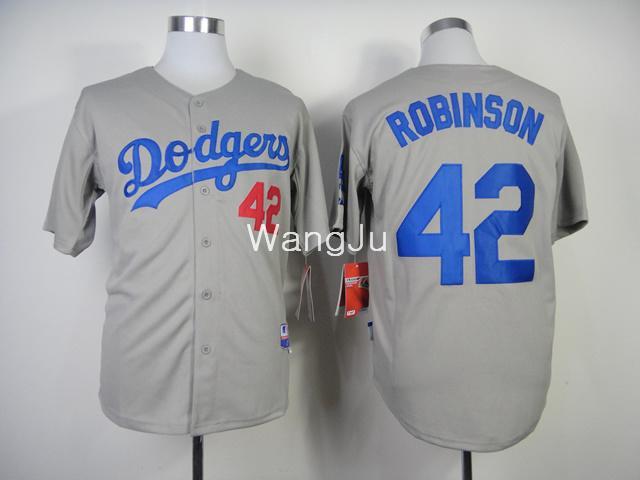 nuovo arrivo pullover di baseball di qualità superiore los angeles dodgers 42 Jackie Robinson 2014 grigio alternativo strada jersey base cool