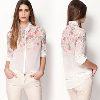 New 2014 Spring Women Clothing Female Long Sleeve Floral Print Sheer Chiffon Button White Top Body Blouse Polo Neck Shirt 0876