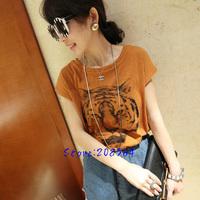 New Loose Design Short Batwing Sleeve Tiger Head Printed T-shirt Hin Thin Yellow Gray 0073