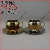 Fashion stainless steel coffee cup wooden cup silver or golden color cup set dish + spoon + cup