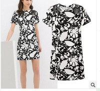2014 summer new European and American black and white print hollow sleeve Slim dress women casual party slim lady dress