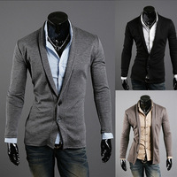 Free Shipping 2014 New Male Stylish StretchV-Neck SlimCardigan Jacket Single Breasted Turn-down Collar Business Casual Outerwear