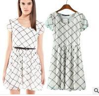 2015 new brand European style white short sleeve chiffon dress women casual cotton cute party lady dress