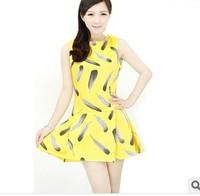 2014 summer new European and American fashion Slim feather pattern sleeveless dress women chiffon casual flower print lady dress