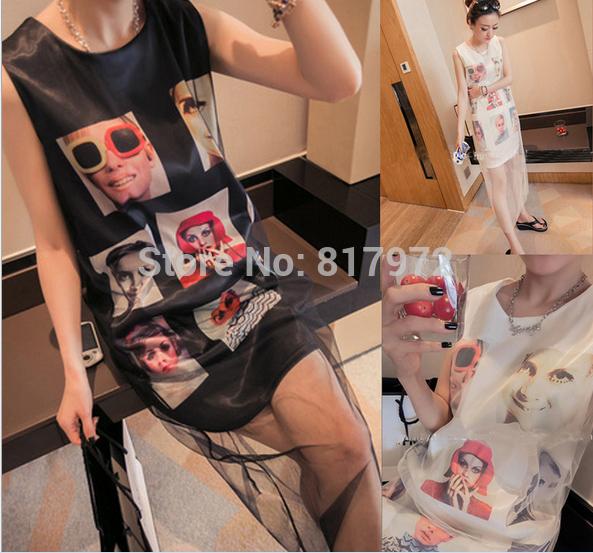 European Style Dress Top Quality Fashion Dress Charm Patchwork Gauze Super Star Print Dress Free Shipping for Woman(China (Mainland))