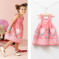 high quality fashion brand design baby girl sleeveless cat print suspender dress sundress pink white
