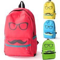 Men Women Backpack Mustache Glasses Print Canvas School Book Campus Bag