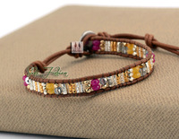 High Fashion Mixed Selected Glass Beads with Stones Weave Wrap Bracelets Beading Pattern Bohemian Single Strand Bracelet