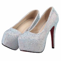 Free shipping hot sell 11cm 14 cm high wedege thin heel women wedding prom evening pumps shoes with rhinestone red bottoms sole