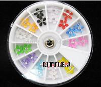 Cute Resin Rhinestone Flower Beads Gem Nail Art Tips Decoration with Wheel