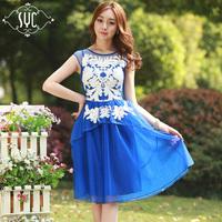 2014 Classic Designer Short-sleeve Organza Embroidered Floral Pattern Irregular Multi-layers Dress,