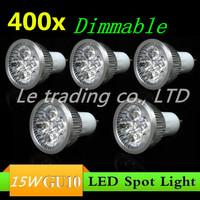 400pcs/lot GU10 15W AC85-265V High Power LED Light Bulb LED Lamp Spotlight Downlight Free shipping