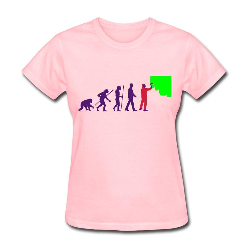 Design Slim Fit T Shirt Women evolution painters painting Logo T Shirts Women's Unique Design(China (Mainland))