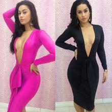 Vestidos de bandagem com decote V profundo rosa ou preto