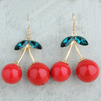 Free Shopping cherry earrings fashion jewelry exaggerated female long section