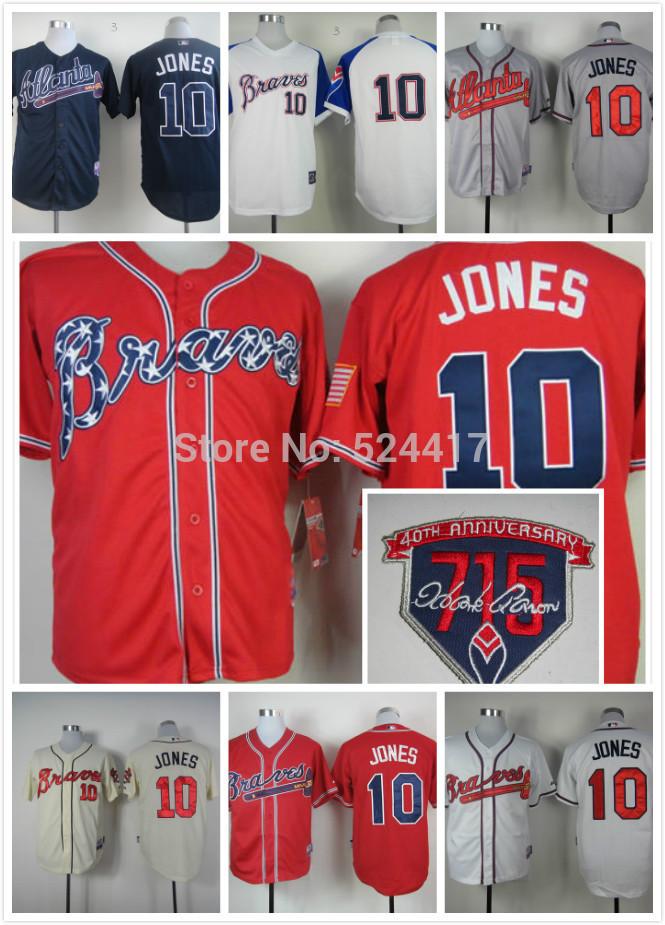cheap free shipping 2014 Atlanta Braves Jerseys 10# Chipper Jones jersey/shirt Embroidery logos sportswear(China (Mainland))