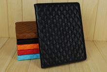 Free shipping diamond lattice dormancy computer protective sleeve leather plate case for ipad2/3/4